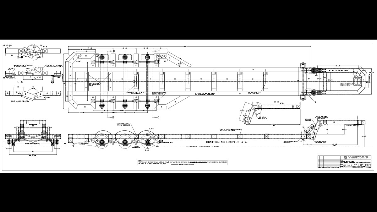 Detail of main trailer frame layout and construction sections as provided to Hostar Marine Transport Systems
