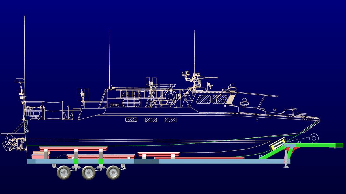 Riverine Craft and 30T bunk trailer together. Hostar Marine Transport.