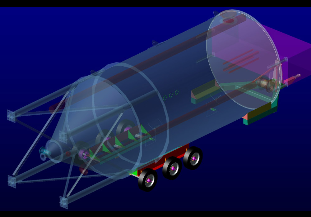 Transport system developed for Hostar Marine to move a waste water clarifier down the road on its own integrated axles.