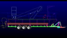 Roller trailer developed for Hostar Marine Transport to move a bridge inspection pontoon barge from site to site