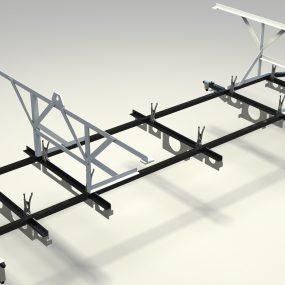 Aluminum hull structure installation fixture.