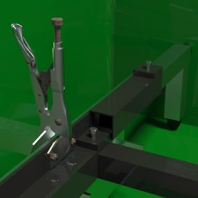 Soft rubber bumpers mounted to sleeves plug-in to the ends of the fixture's rails.